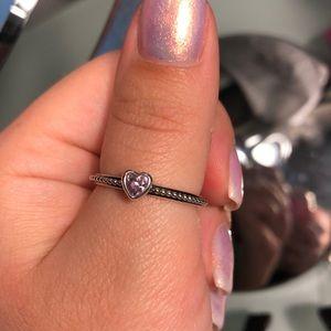 Pandora silver one love pink sapphire ring